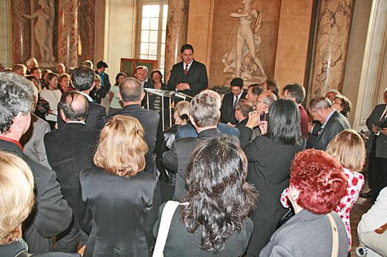 Pendant le discours de Jean-Pierre Mangiapan à la Mairie de Toulouse