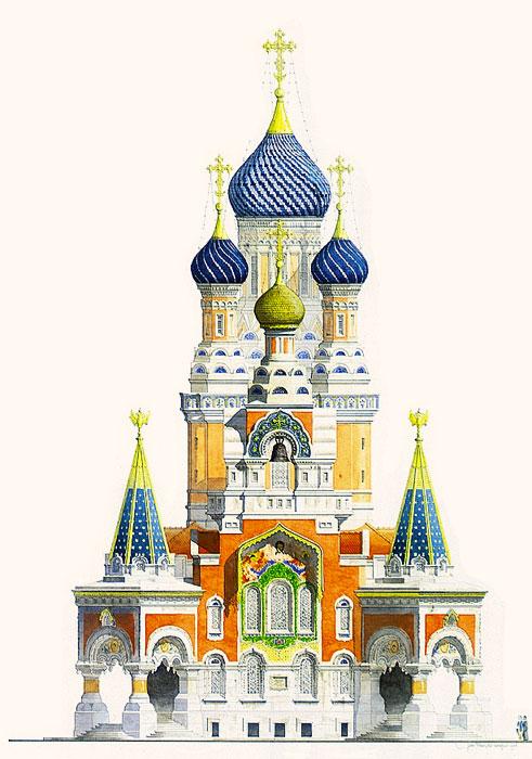 La cath drale orthodoxe russe saint nicolas - Eglise dessin ...