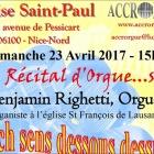 Nice Récital d'Orgue à l'église Saint Paul avec l'association Accrorgue